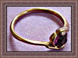 Antique Gold Tone Ring Size 6 With Dark Purple Crystal
