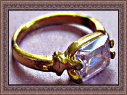 Antique Gold Tone Size 7 Purple Crystal Birthstone Ring