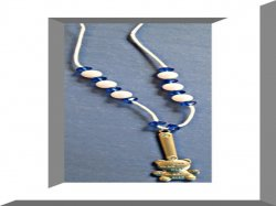 Handmade Exclamation/Teddy Bear Necklace With Blue & White Beads & White Rope
