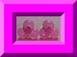 Pink Flower Design Stud Earrings For Girls