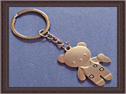 Silver Tone Teddy Bear With Half Heart Design Keychain
