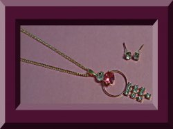 Gold Tone Necklace & Stud Earring Jewelry Set With Pink & Clear Crystals