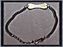 Black Chain Bracelet With Silver Tone Dog Bone Design With The Name Agatha