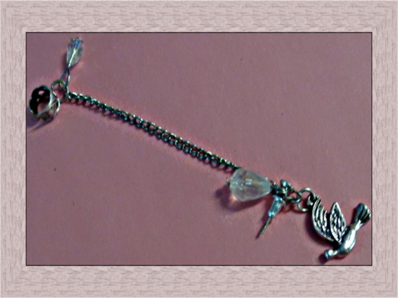 Image 0 of Vintage Silver Tone Chain Ear Cuff Earrings For Pierced Ear With Dove Charm
