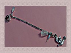 Vintage Silver Tone Chain Ear Cuff Earrings For Pierced Ear With Dove Charm