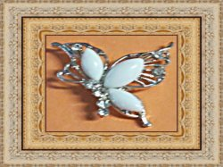 Silver Tone Butterfly Design Brooch With White Beads & Clear Crystals