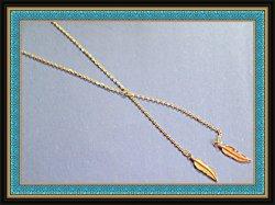 Gold Tone Feather Design Necklace Native Ethnic Tribal Boho Style