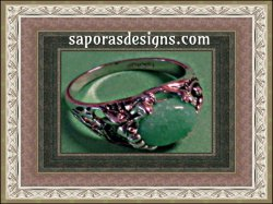 18KRP Ring With Jade Bead For Beauty Size 9
