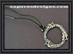 Silver Tone Elder Scrolls Design Necklace With Black Rope Chain Unisex