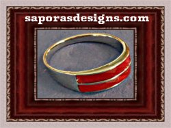Silver Tone Band Design Ring Size 7 With Red Stone