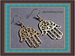 Tibetan Silver HAMSA Fatima Hand Protection Design Dangle Earrings