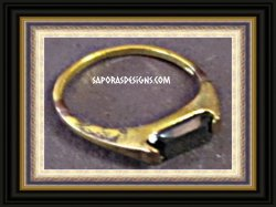 Gold Tone Ring Antique Size 5.5 With Black Crystal Biker Chic Punk Rock Style