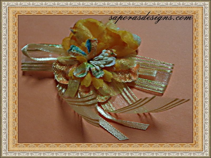 Image 0 of Handmade Orange Silk Flower Design Brooch For Special Events