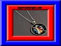 Silver Tone Michael Jackson Design Necklace Unisex