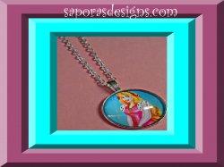 Silver Tone Disney Sleeping Beauty Design Necklace