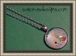 Silver Tone The Little Prince Design Necklace Unisex