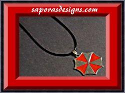 Resident Evil Biohazard Umbrella Design Necklace With Black Rope Chain Unisex