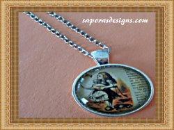 Vintage Silver Tone Alice In Wonderland Design Necklace