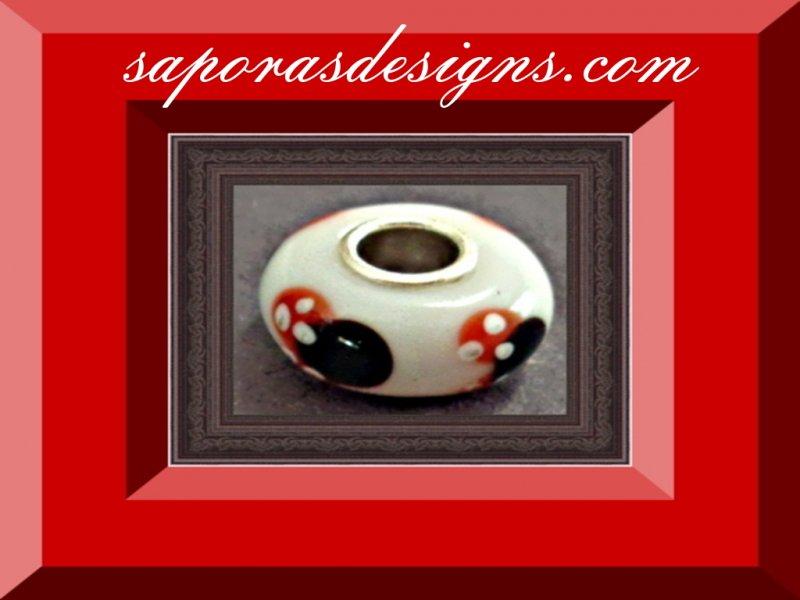 Image 0 of Minnie Mouse Disney Design Glass Charm For Bracelet