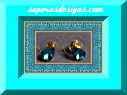 Silver Tone Tear Drop Design December Birthstone Crystal Stud Earrings
