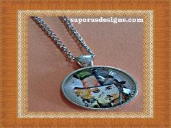 Silver Tone Johnny Depp Design Necklace Unisex