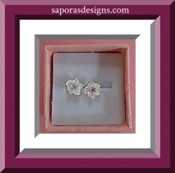 925 Sterling Silver White Flower Design Stud Earrings With Pink Crystal