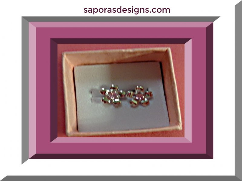 Image 0 of 925 Sterling Silver Flower Design Stud Earrings With Pink Crystals