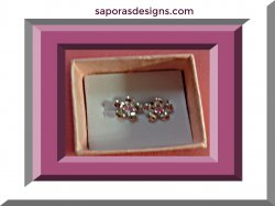 925 Sterling Silver Flower Design Stud Earrings With Pink Crystals