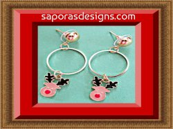Gold Tone Dangle Rudolph The Red-Nosed Reindeer Design Earrings