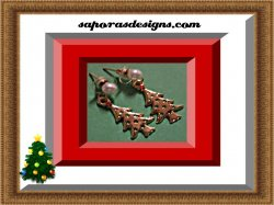 Gold Tone Dangle Christmas Tree Design Earrings With Green & Red Crystals