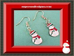 Gold Tone Snowman Design Dangle Earrings For Christmas