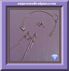 Silver Tone Necklace Dangle & Stud Earrings Jewelry Set With Clear Crystals