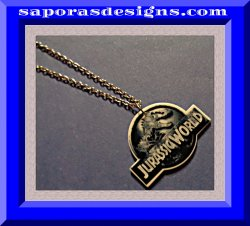 Silver Tone Jurassic World Design Necklace Unisex For Kids