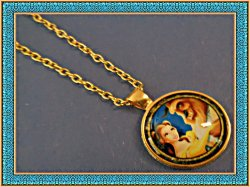 Gold Tone Inspired Beauty And The Beast Necklace For Kids