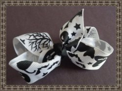 Black & White Halloween Design Hair Bow With Pumpkins Witch Hats & Bats