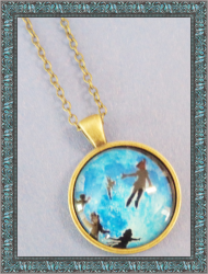 Antique Style Disney Peter Pan Design Necklace For Kids