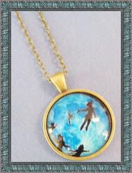 Antique Style Disney Peter Pan Design Necklace For Kids