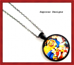 Black Tone Disney Beauty And The Beast Design Necklace For Girls