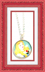 Disney Sleeping Beauty Design Necklace Silver Tone For Girls