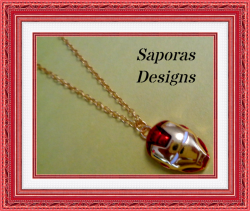 Gold Tone And Red Iron Man Design Necklace Unisex