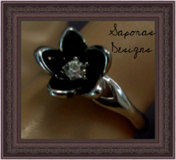 Silver Plated Black Flower Design Ring Size 7 With Clear Crystal