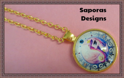Gold Tone My Little Pony Design Necklace For Girls