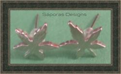 Silver Plated Marijuana Leaf Design Stud Earrings Unisex
