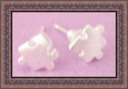 Silver Plated Puzzle Design Stud Earrings Unisex For Couples