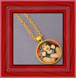 Gold Tone Wonder Women Design Necklace For Girls Or Women