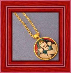 Gold Tone Wonder Women Design Necklace For Girls Or Women