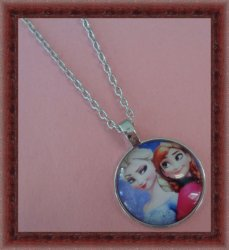 Silver Tone Frozen Anna And Elsa Design Necklace For Girls