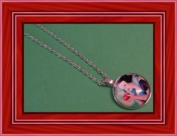 Silver Tone Snow White Design Necklace For Girls