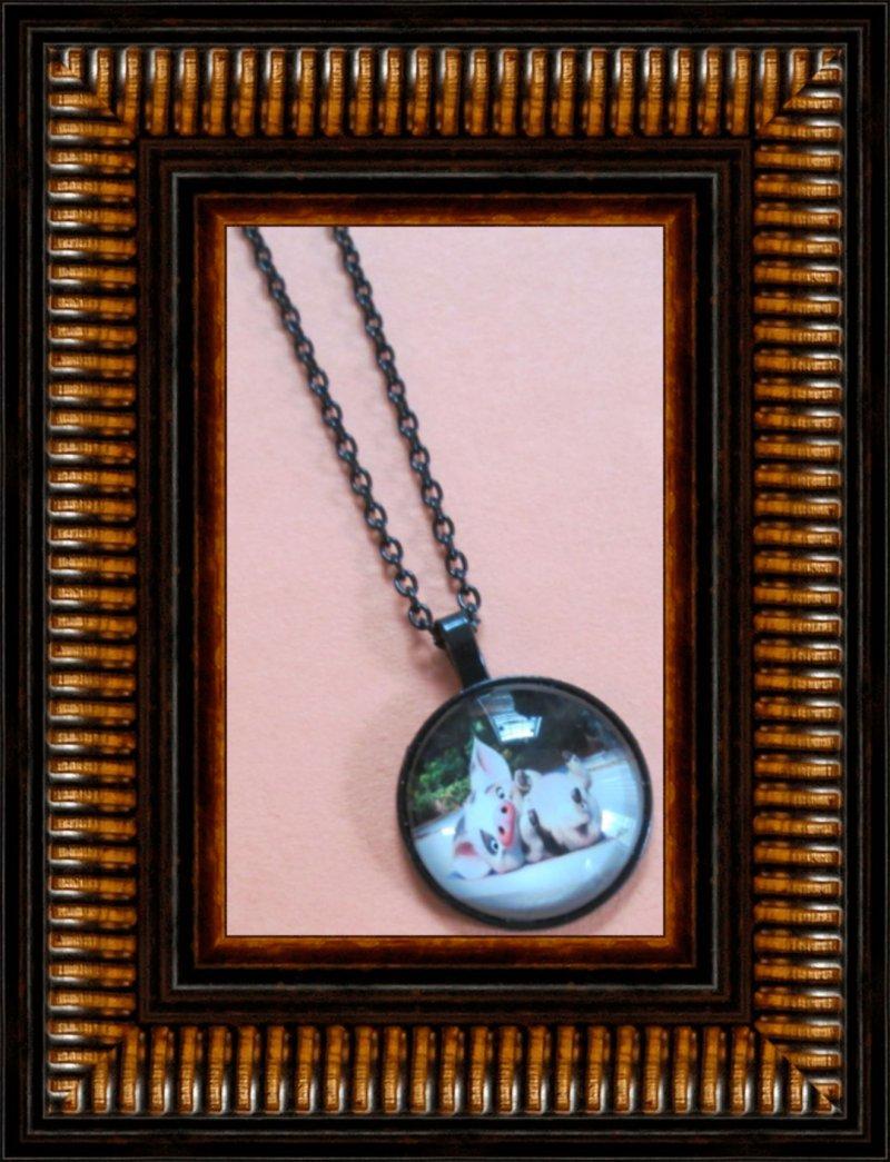 Image 0 of Black Tone Moana Pua The Pet Pig Design Necklace For Kids Unisex