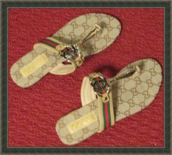 Gucci GG Logo Sandals For Women Brown And Gold Tone Size 7